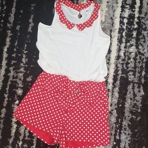 2piece red polka dot set Disney Lauren Conrad s/m